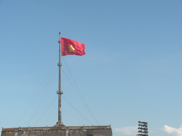 Vietnam Flag. Imperial City. Hue, Vietnam