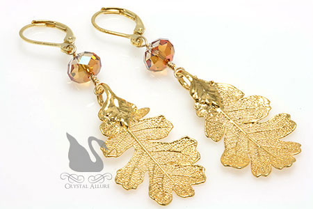 Real Oak Leaf Crystal Earrings (E135) by Crystal Allure Jewelry Creations