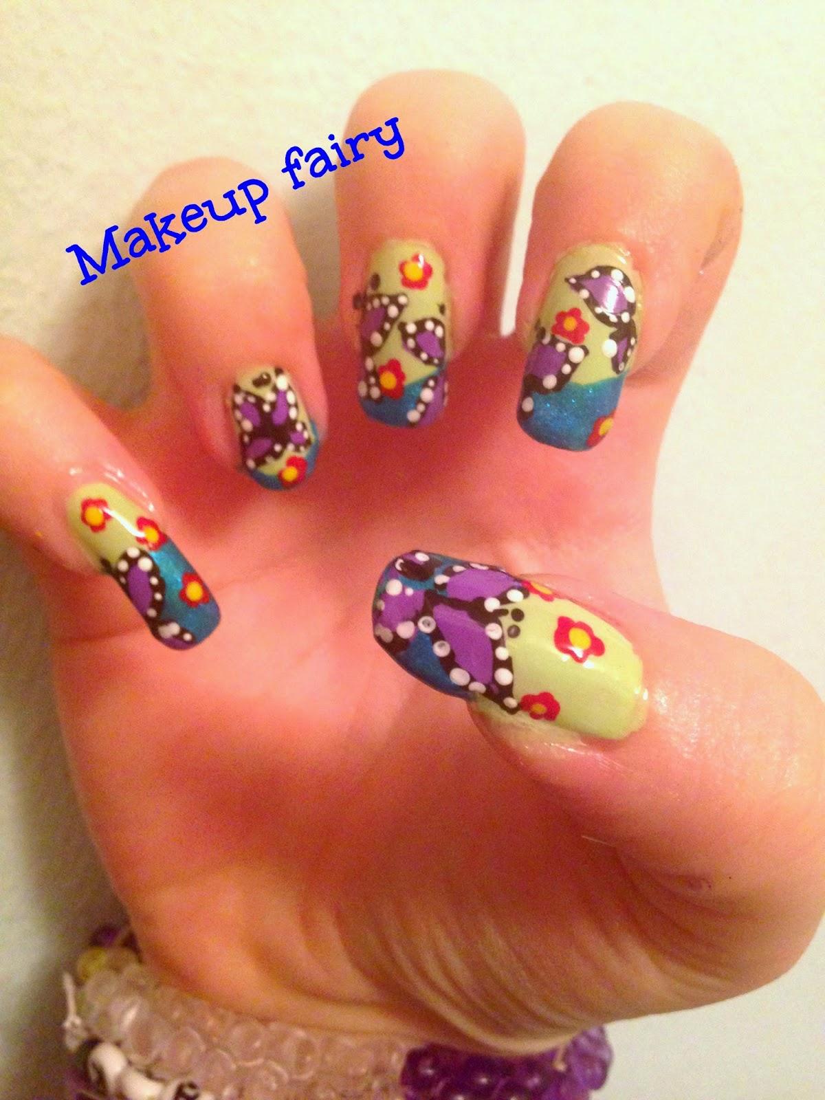 Tinklesmakeup: butterflies in a garden/farfalle nel giardino nail art