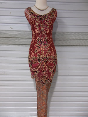 Kebaya Red Broklat Twotone