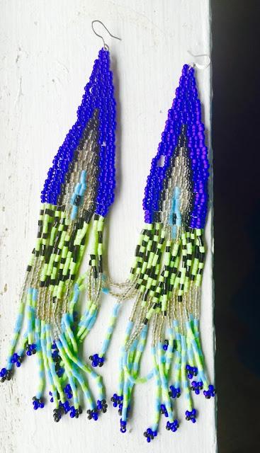 beaded earrings, african tribal earrings, ethnic long earrings, Blue beaded long earrings, beautiful earrings