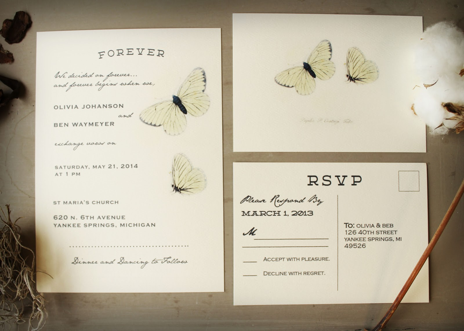 natural+paper+wedding+invitation butterfly wedding invitations Butterfly Wedding Invitations perfect for a natural wedding or butterfly wedding invitation