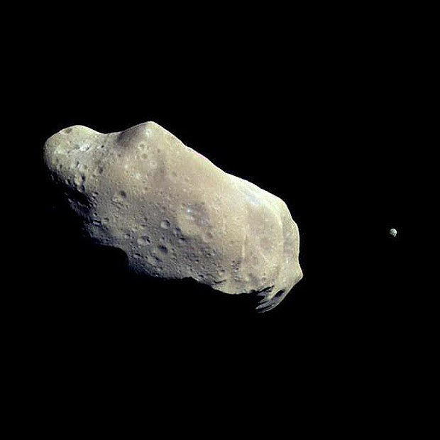 Stunning color image of Asteroids Ida and Dactyl