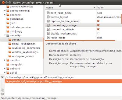 Editor de configurações