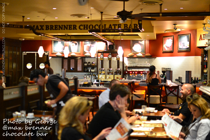 Max Brenner Chocolate Bar Bald Man Brunch Breakfast Dinner Las Vegas Restaurants Travel Blog Mollys White Corn Croquettes Alice Cups Frappes
