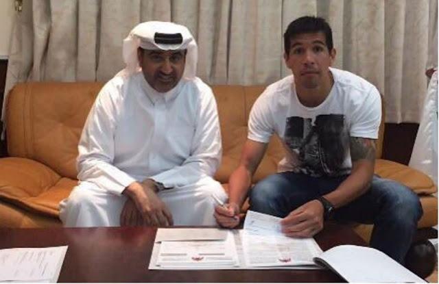 Volante paraguaio assinou contrato no Catar nesta quinta-feira (Foto: Reprodução/Twitter)