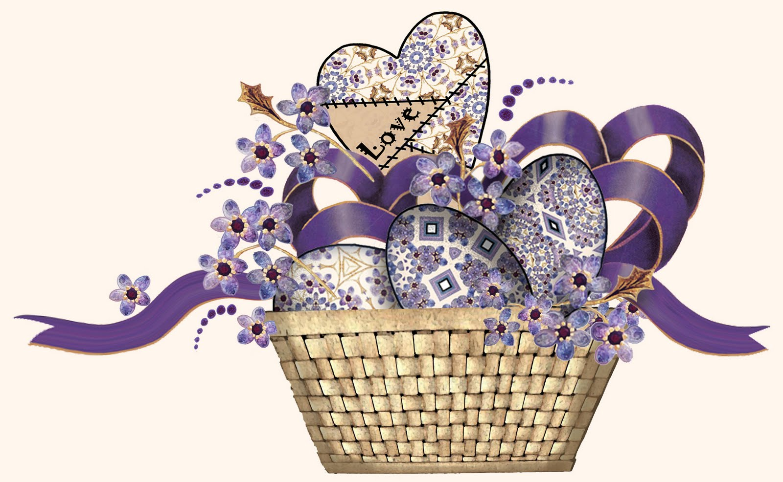 Gift Basket Clipart : Artbyjean purple wood roses basket of eggs and