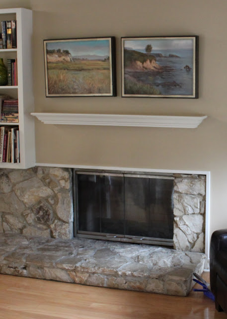 mid-century modern mantle before picture
