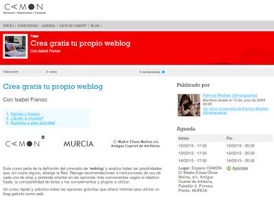 """Página web del curso Crea tu propio blog. A la derecha, puede verse el botón """"apúntate"""""""