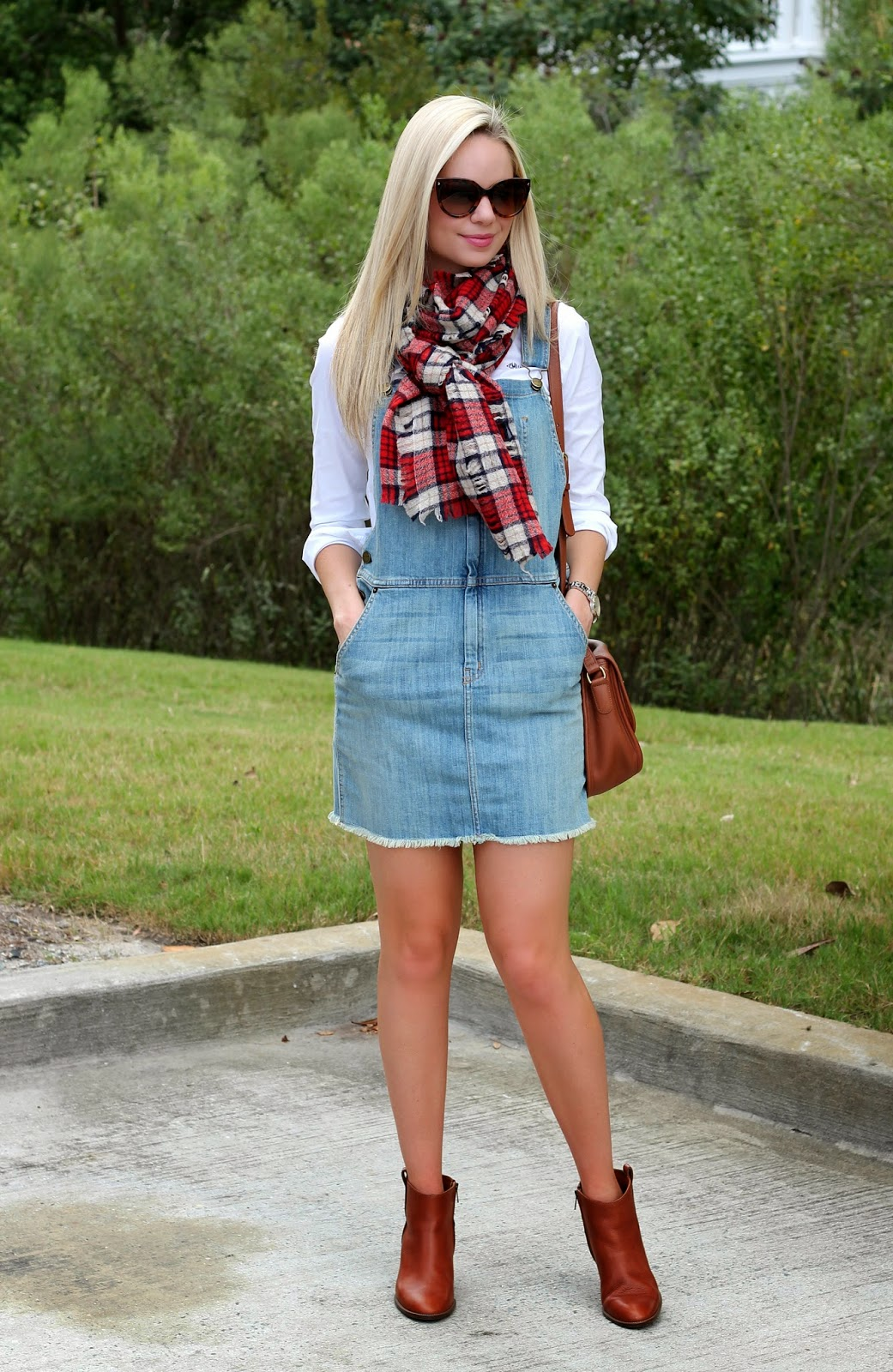 madewell, plaid, plaid scarf, overalls, boots