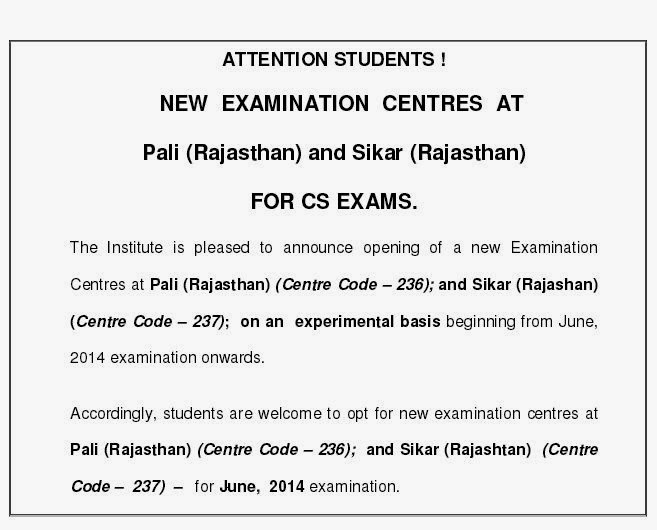 CS EXAMS NEW CENTRES