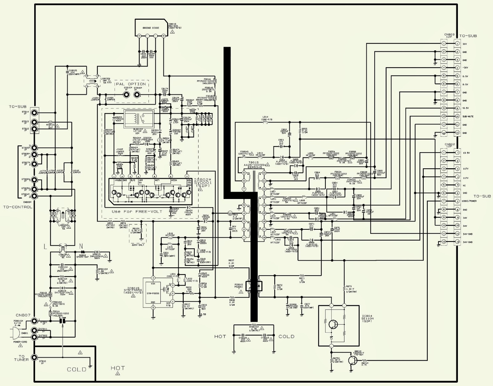 Tv Power Schematic Auto Electrical Wiring Diagram Crt Electronic Repair No High Voltage Toshiba 20as24 Samsung Hcl Hd4715w Projection