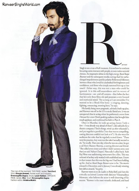 Ranveer Singh:'The Next Superstar' on Harper's Bazaar Man Nov 2013