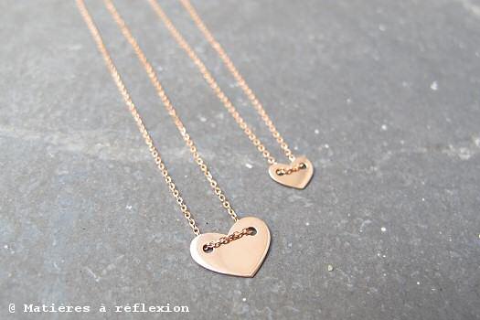 Collier Coeur et Mini Coeur Vanrycke or rose
