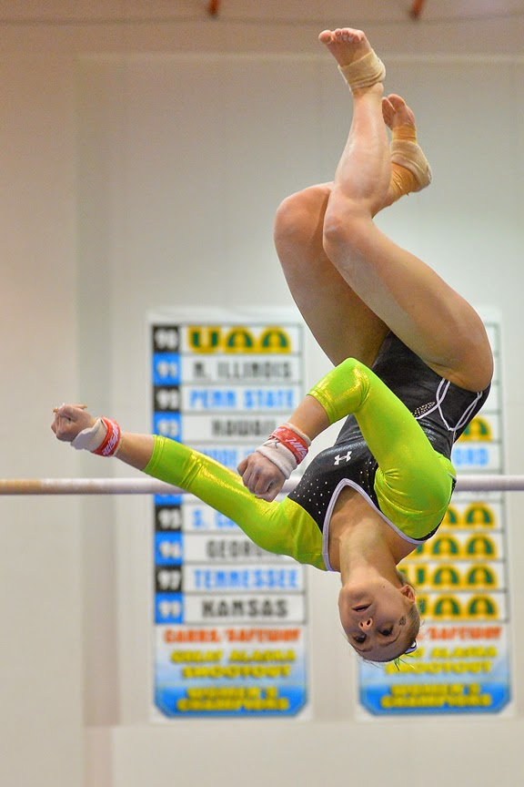 As a piloting major on the gymnastics team, Marie-Sophie doesn't stay grounded very often. (Photo by Sam Wasson/UAA Athletics)