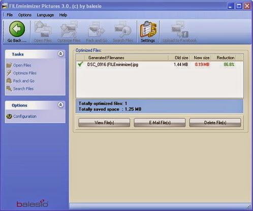 default setting Fileminimizer Pictures, Web / Email Compression, Standard Compression, Low / Print Compression