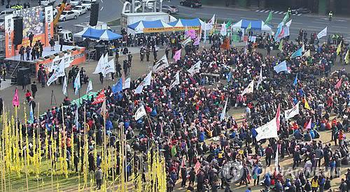 Manifestación de granjeros surcoreanos contra el TLC con China