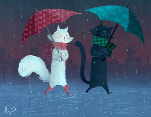 todo gatos.. - Página 3 Pareja+con+paraguas