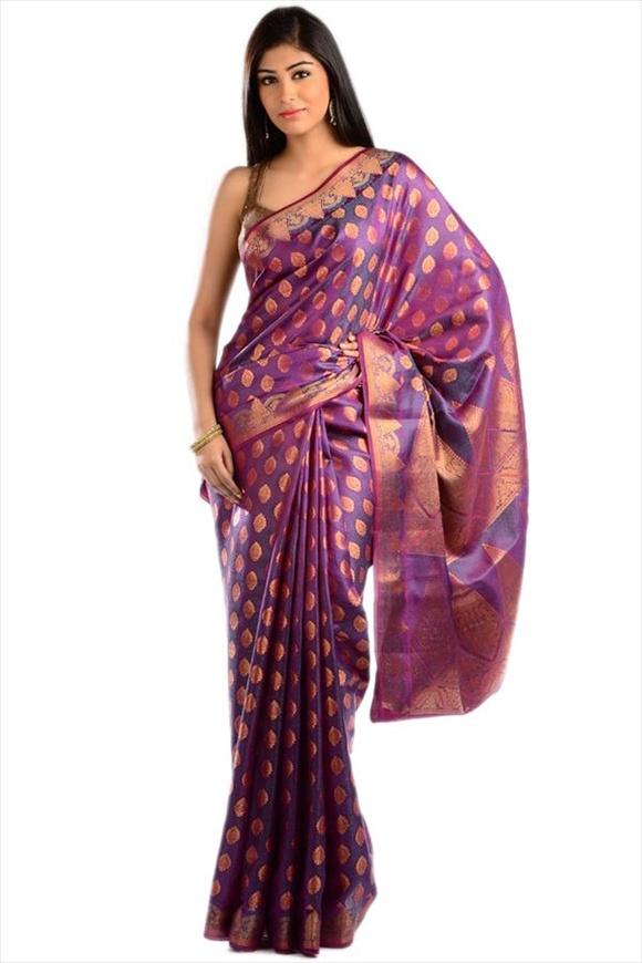 Grape Purple Kattan Silk Banarasi Saree