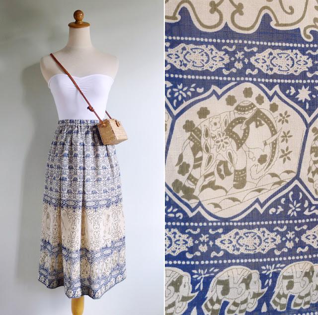 vintage novelty print elephant paisley skirt