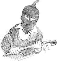 desenho de um ladrão - dinheiro J