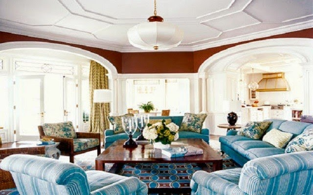 Indah Ruang Keluarga Anda Bernuansa Biru dan Putih