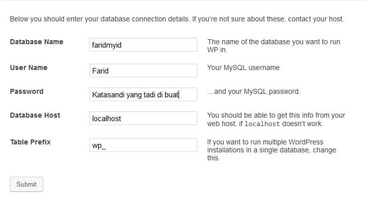 Setting database xampp