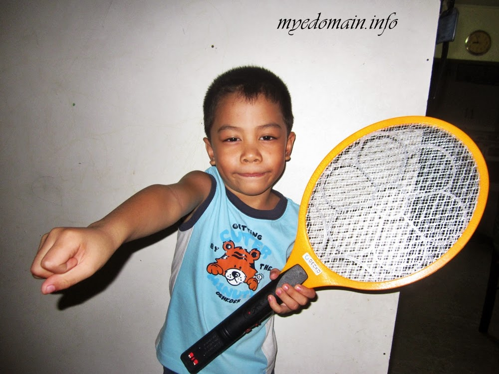 Super Kiko with the super racket-killing mosquitoes