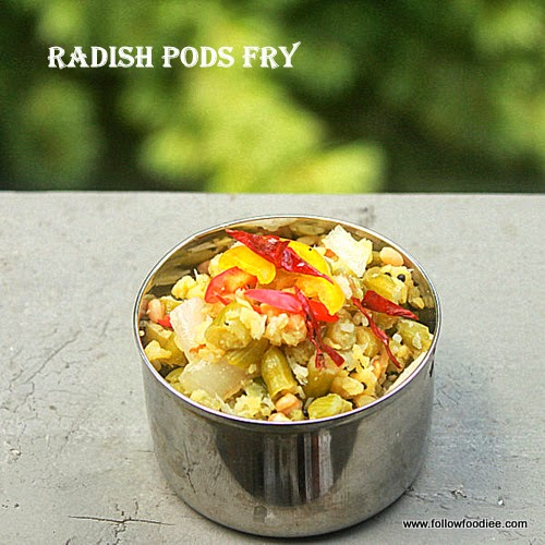 Radish Pods Stir Fry Reicpe with coconut