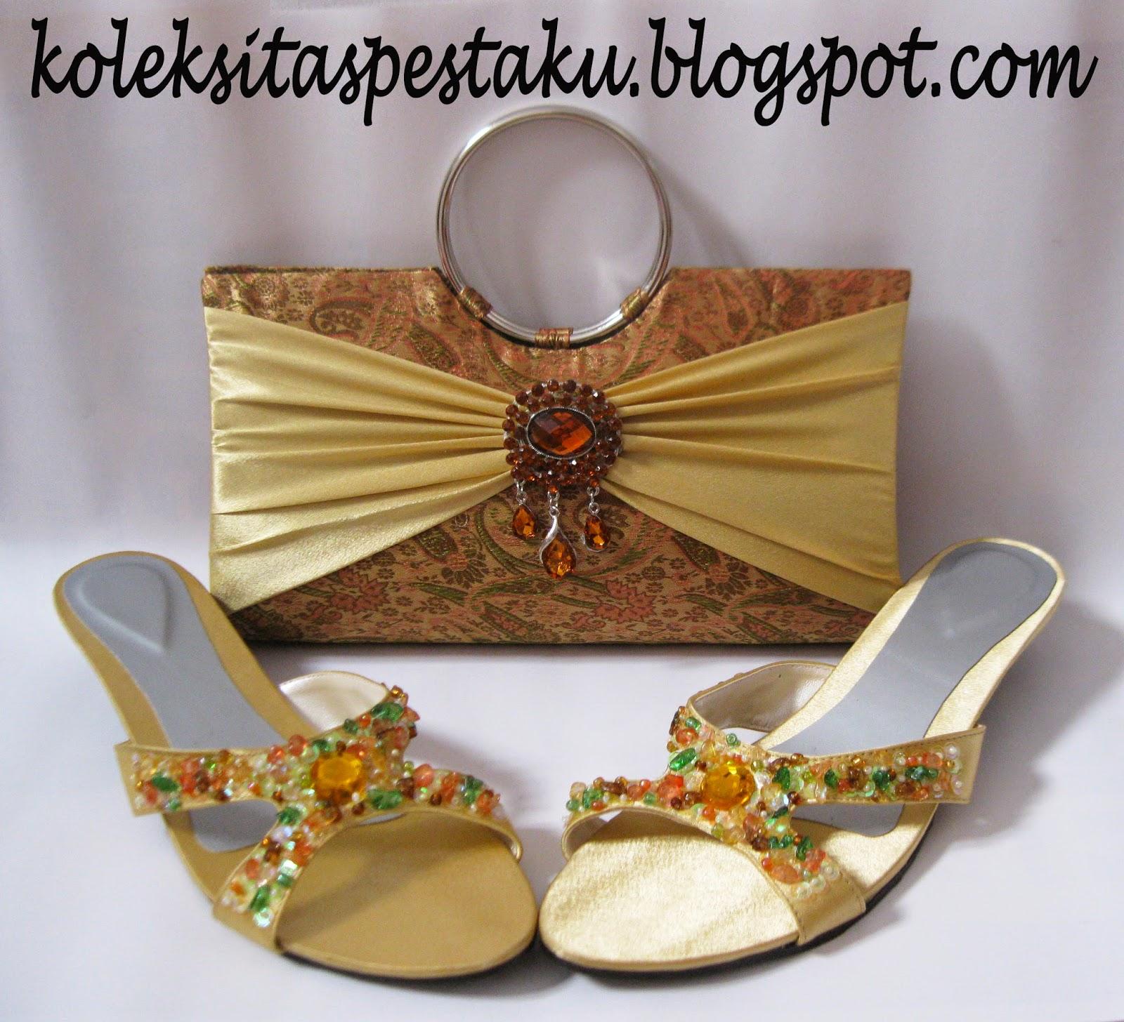 Sepatu dan Tas Pesta Clutch Bag Unik Tenun Sari India Mewah Gold