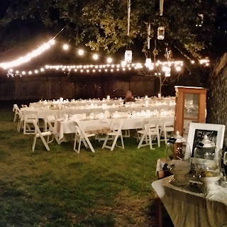 www.TheOtherEndOfTheCandle.com Rustic Vintage Backyard Wedding Reception