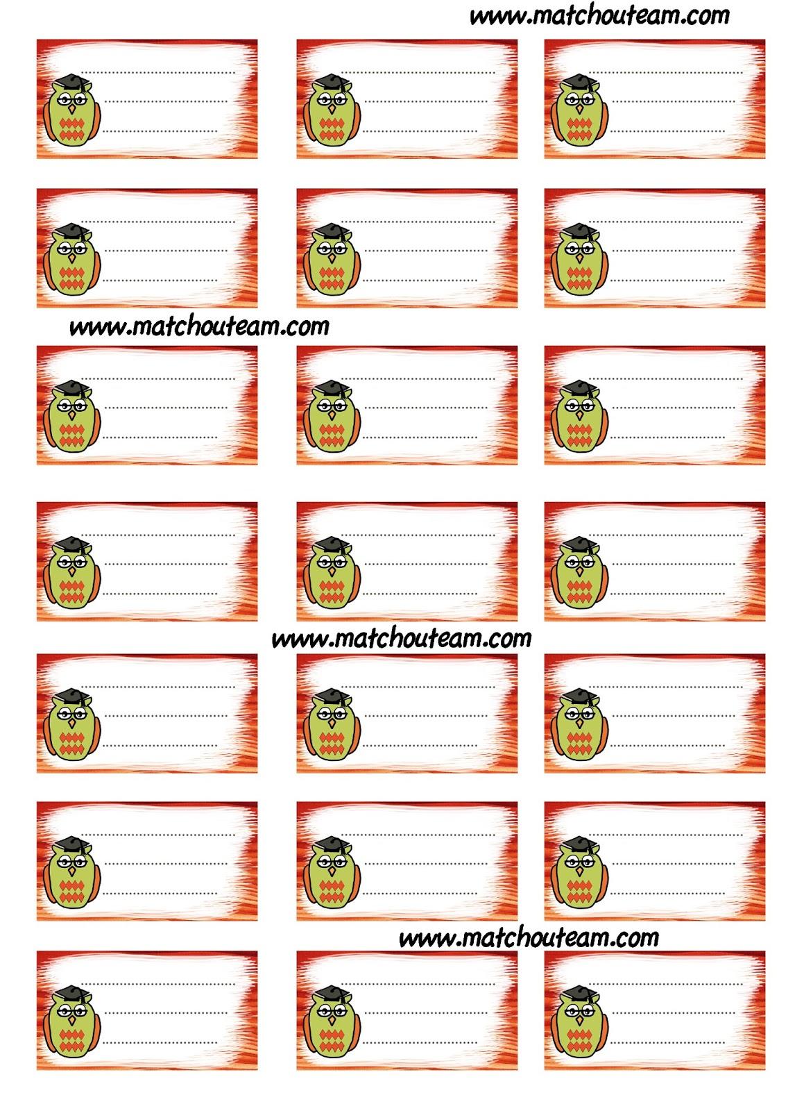 Bien-aimé Ma Tchou team: étiquettes rentrée scolaire à imprimer QU25