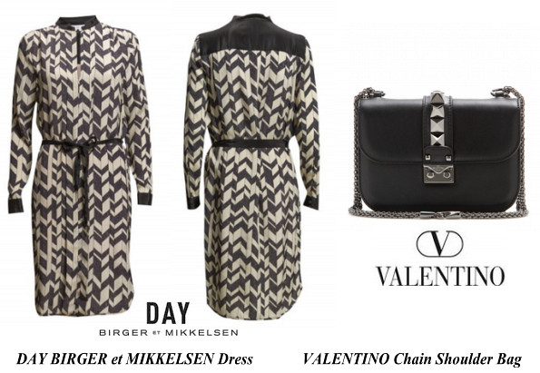 Princess Victoris's DAY BIRGER et MIKKELSEN Dress And VALENTINO Chain Shoulder Bag