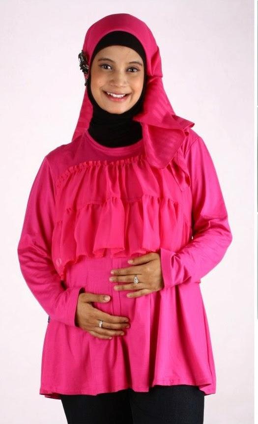 Contoh Model Baju Atasan Muslim untuk ibu hamil