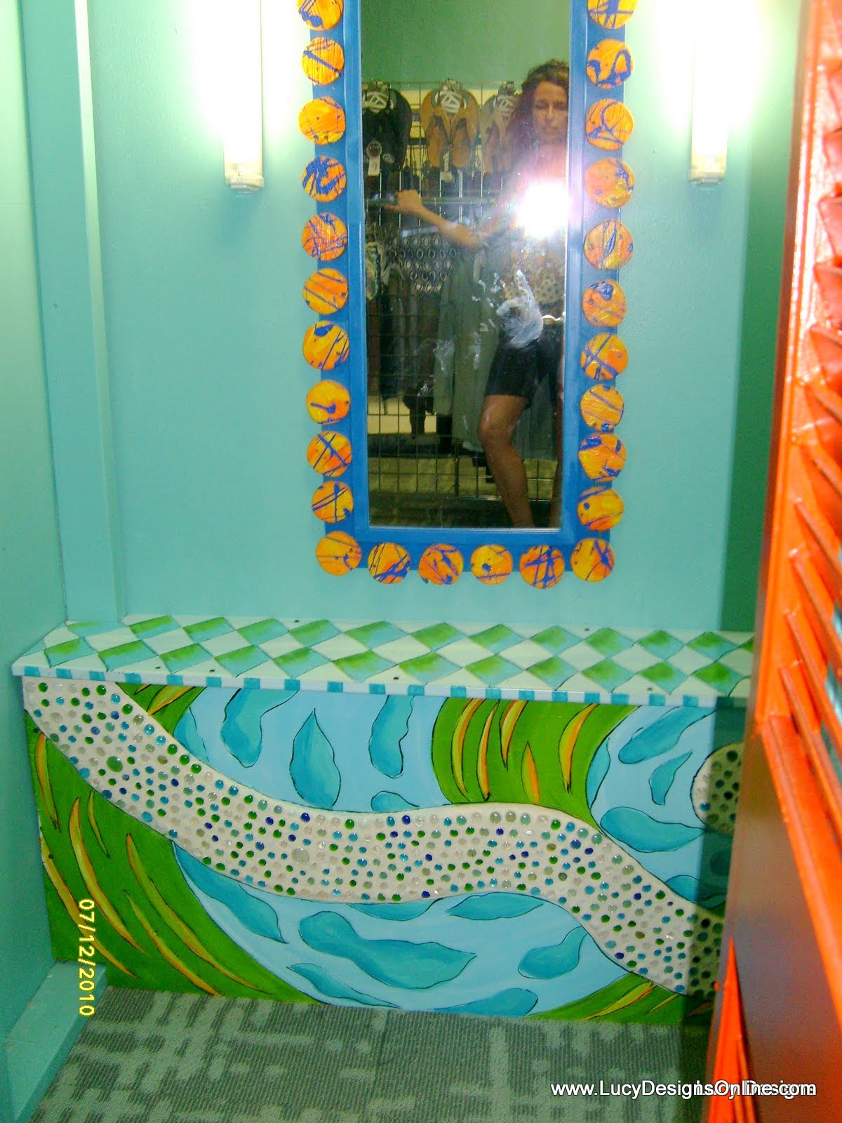 hand painted bench with glass gem mosaic accents