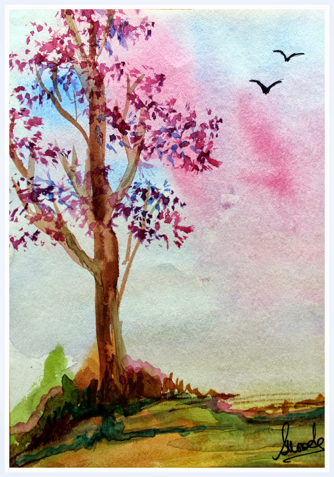 landscape sky tree scenery scene painting watercolor