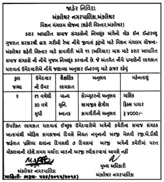 Ankleshwar Nagarpalika Recruitment 2016