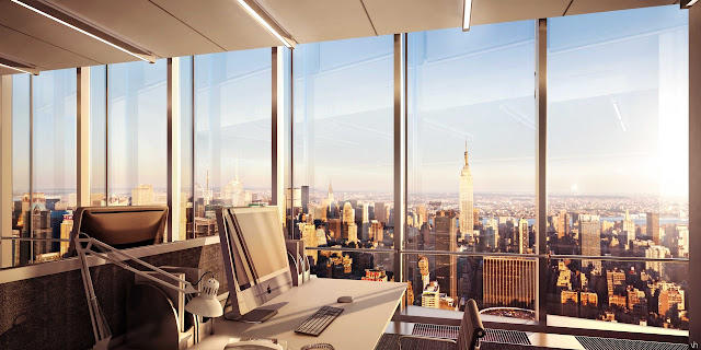 Picture of Midtown and Empire State Building as seen form the office in the north tower