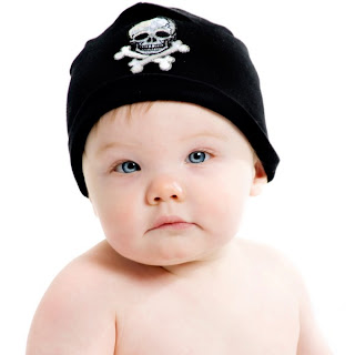 Black Applique Hat with Black Skull Rockin Hats by Baby Rebellion