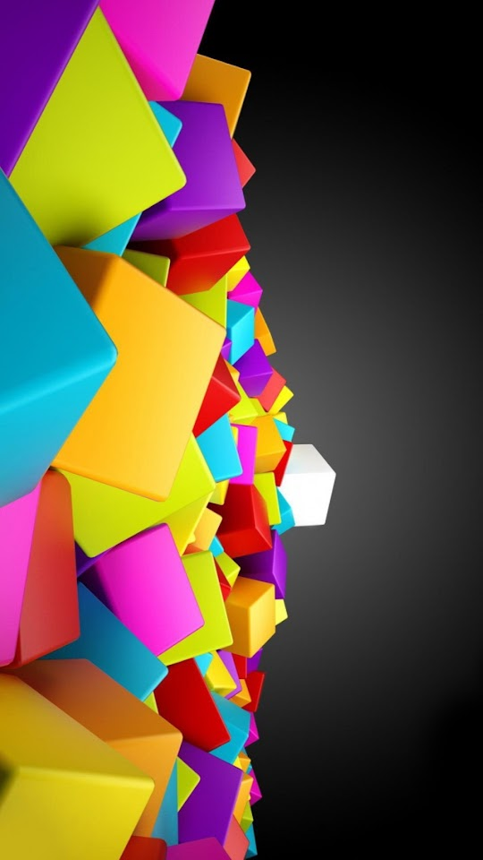 3D Colored Cubes   Galaxy Note HD Wallpaper