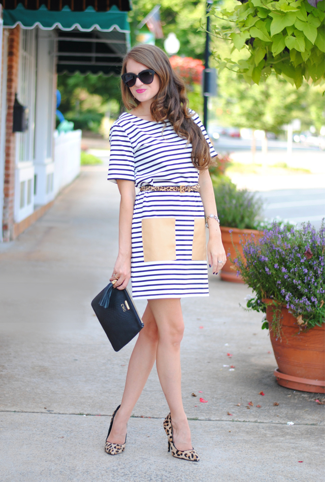 Striped dress with leather pockets