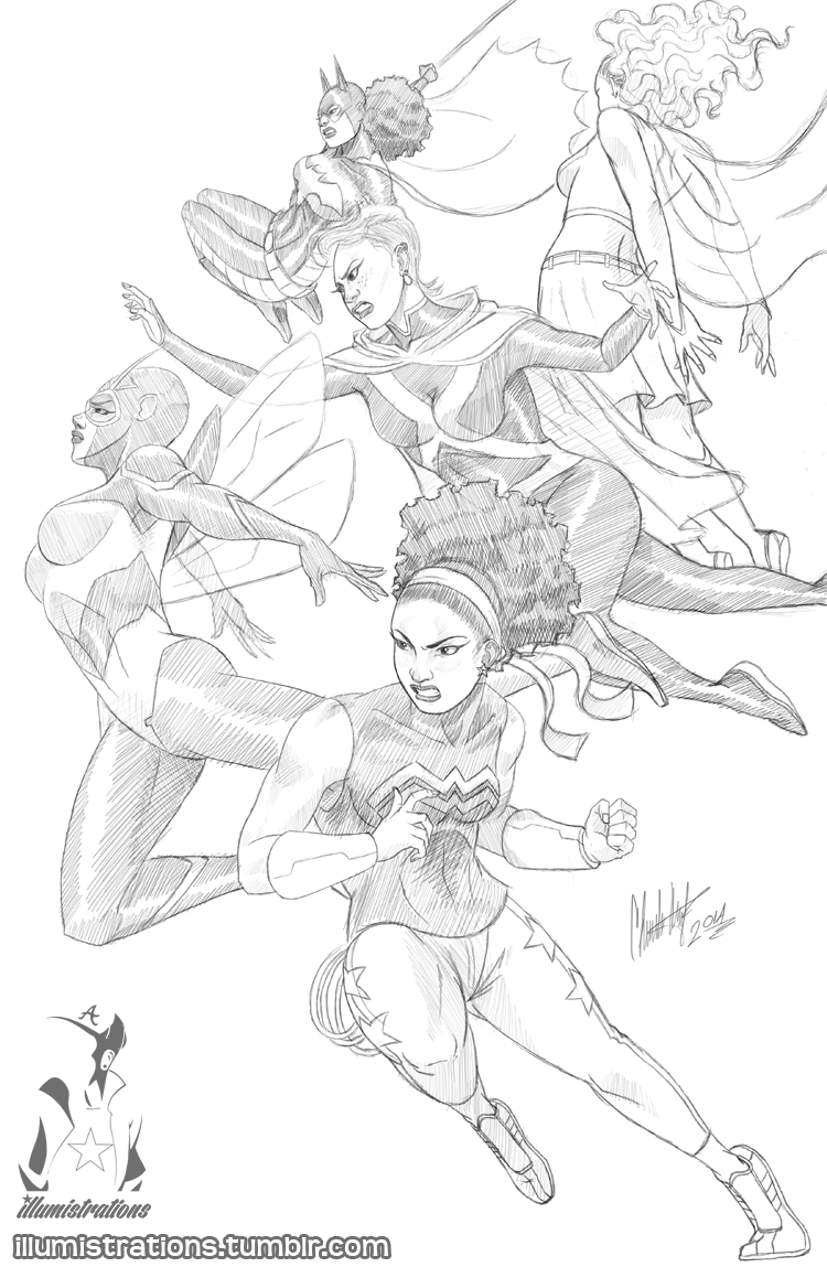 art artwork illustration sketch drawing young justice comics dc justice league african american superheroes black women woman female natural hair