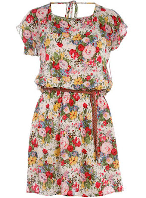 Cream floral belted dress