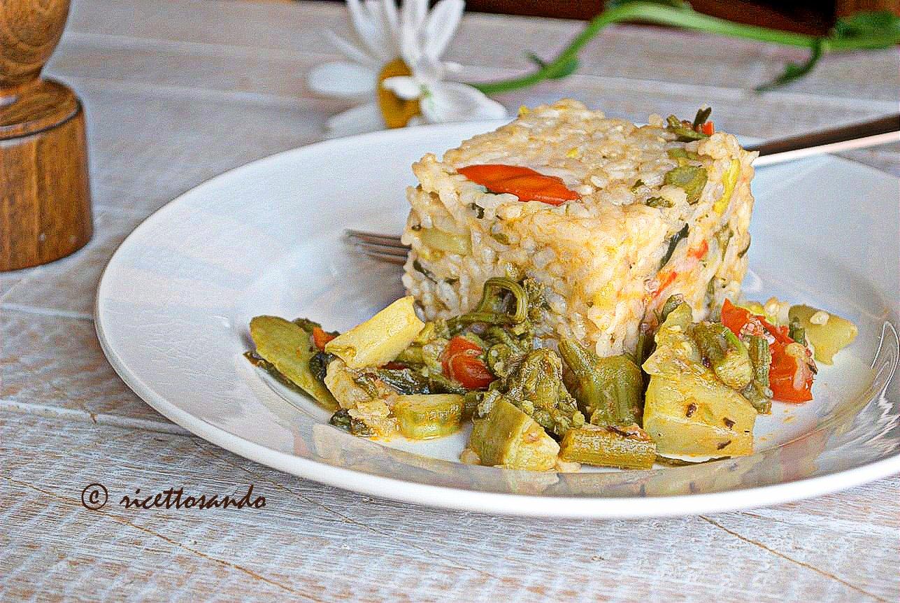 Riso vegetariano con tenerumi ricetta dietetica di verdure