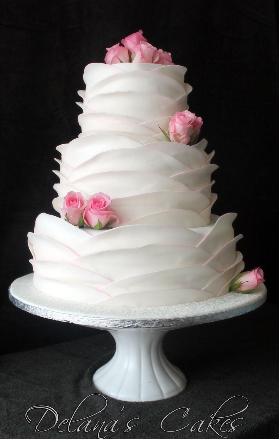 Delana\'s Cakes: Romantic Large Ruffles Wedding Cake