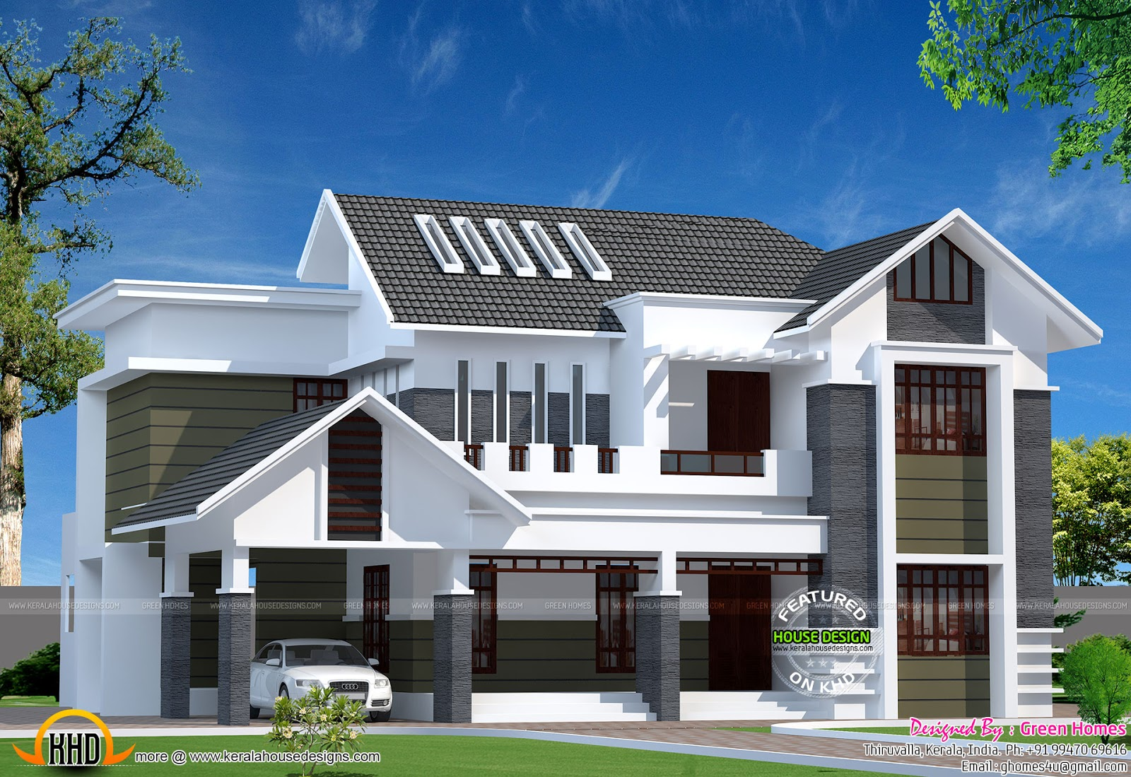 2800 sq ft modern kerala home kerala home design and for Kerala style house plans with photos
