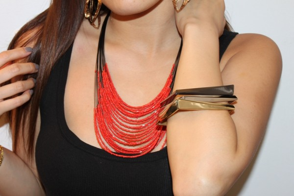 Red Fashion Layered Necklace Design