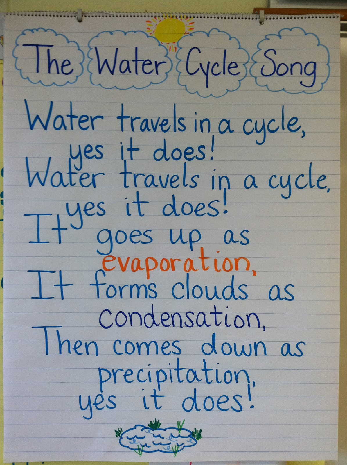 This Friday, we made water cycle bracelets to go along with the song.