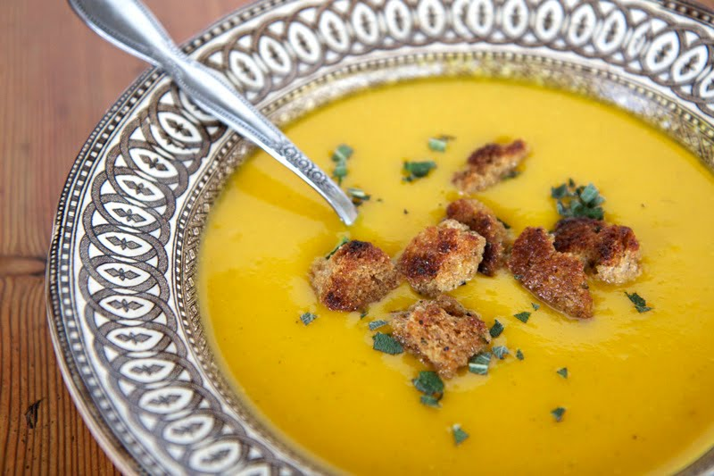 The Flour Sack: Roasted Butternut Squash Soup with Sage Croutons