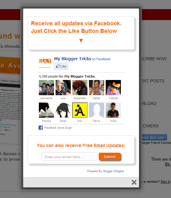 Facebook Like Box, Popup Facebook Like Box, Awesome jQuery Facebook Likebox Popup For Blogger